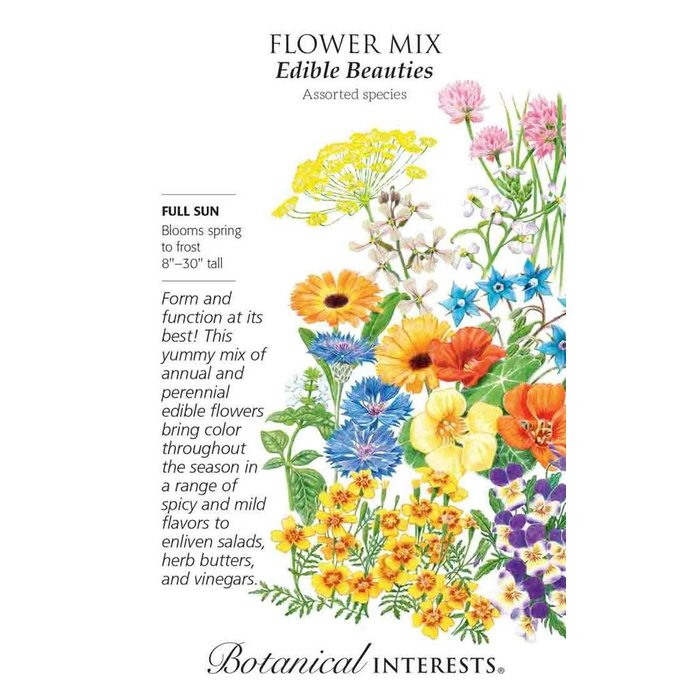 Seed Flower Mix Edible Beauties - assorted  Lrg Pkt