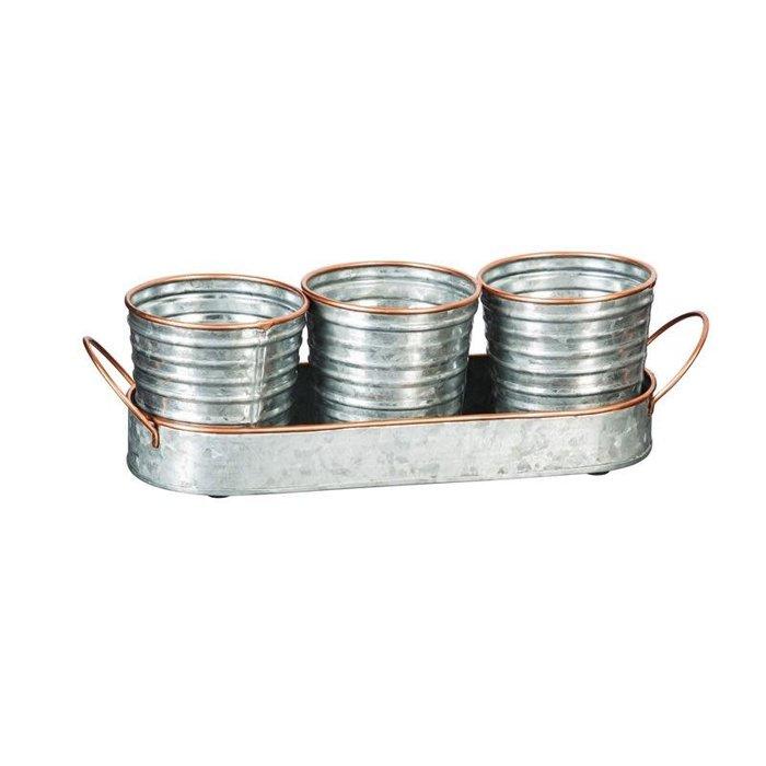Pot Tray w/ 3 Pots Silver & Copper Rimmed