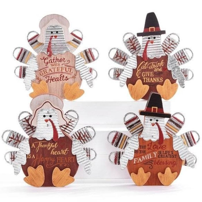 Fall Decor Turkey 7x7 Asst Wood (MDF) & Metal