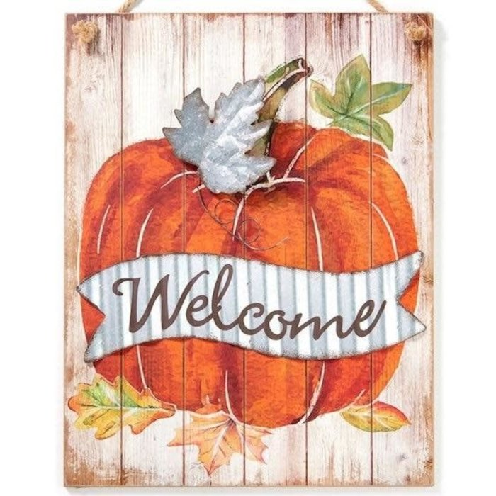 Fall Decor Wall Plaque / Sign Pumpkin Welcome 15x19 Wood (MDF) & Metal