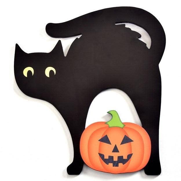 Halloween Chalkboard Cat w/Pumpkin 12x13