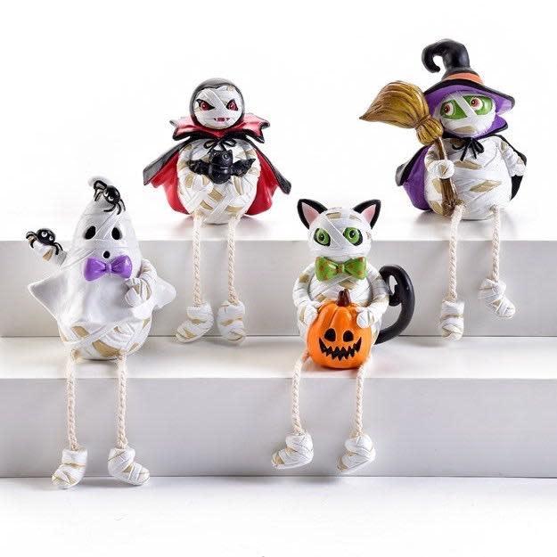 Halloween Statuary/Figurine Mummy Shelf Sitter 3x3 Asst
