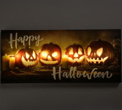 Halloween Canvas Happy Halloween LED 13x29