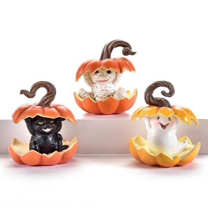 Halloween Statuary/Figurine Pumpkin Light-up Ghost/Cat/Mummy 3x3x4 Asst