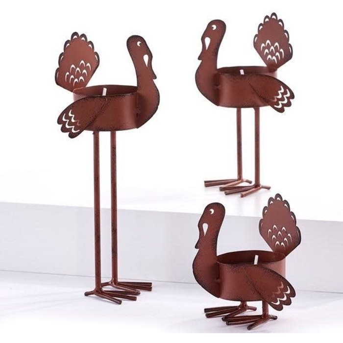 Fall Decor Turkey Tealight Candle Holder Set of 3 Metal