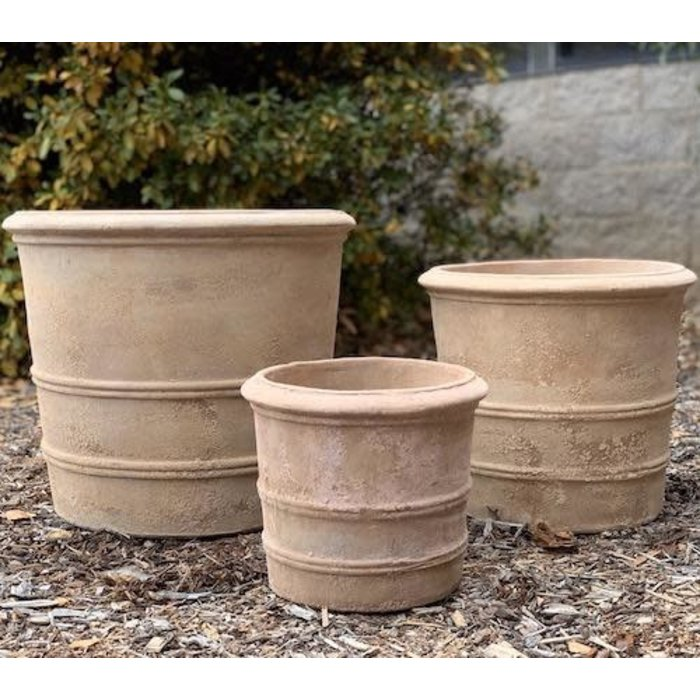 Pot Mila Double Ringed Cylinder Med 13x12 Antique Terracotta