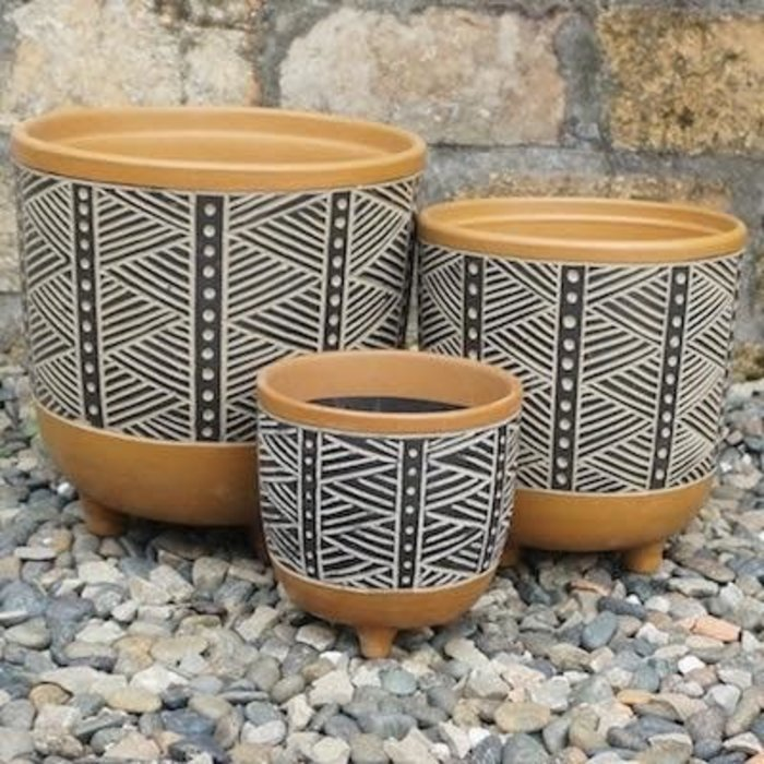 Pot Nava Graphic Footed/Feet Lrg 9x9 Terracotta