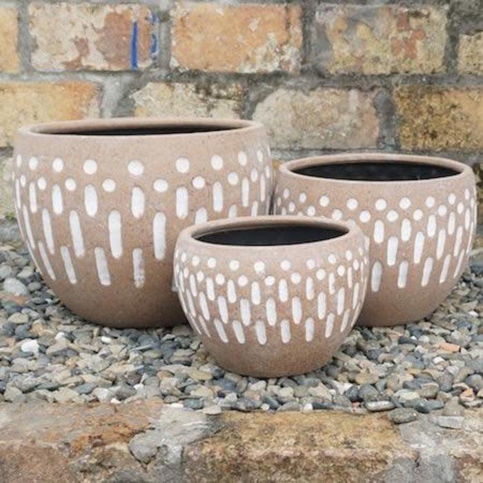 Pot Allan Dots and Dashes Sml 6x5 Antq Terracotta