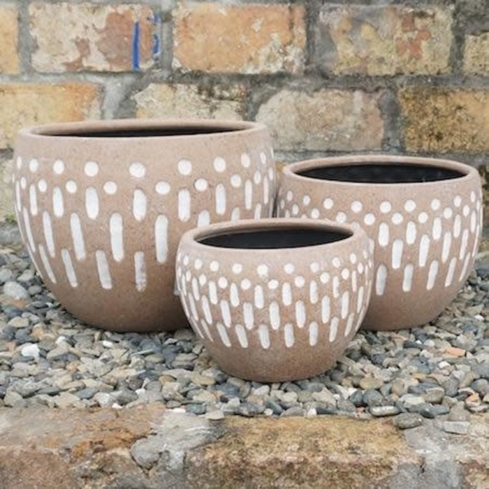 Pot Allan Dots and Dashes Med 9x6 Antq Terracotta