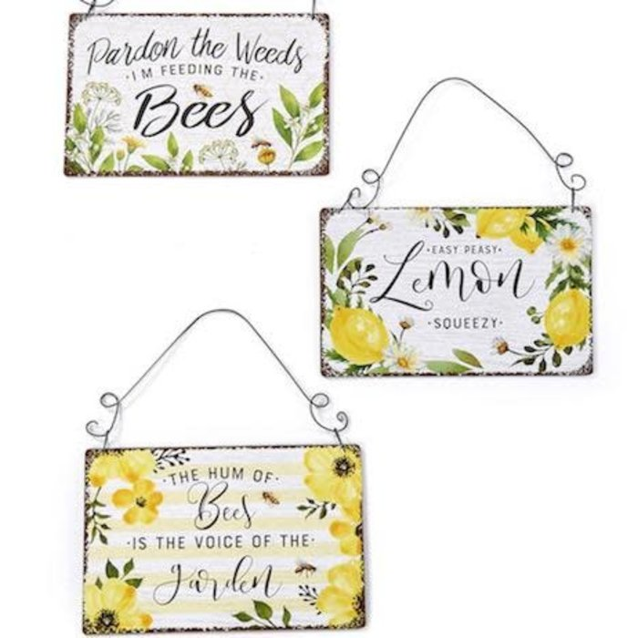 Sign/Plaque Bees/Lemon/Flowers Asst 9x6 Metal