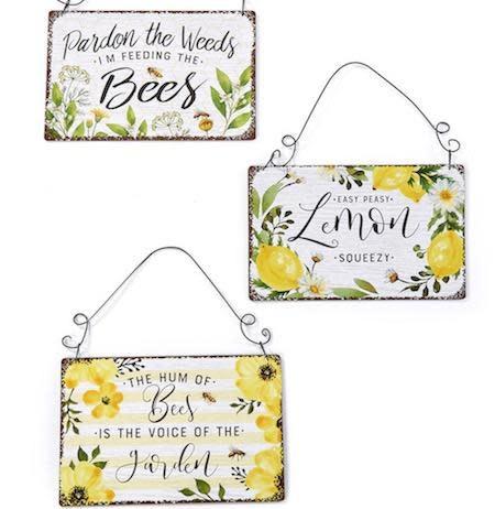 Sign/Plaque Bees/Lemon/Flowers Asst 9x6 Metal