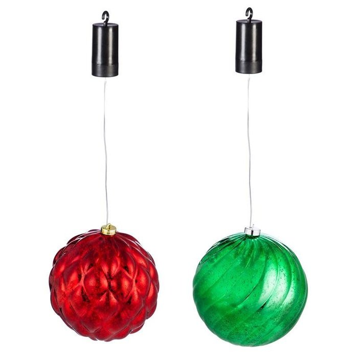 "8"" LED Hanging Ornament Red / Green"