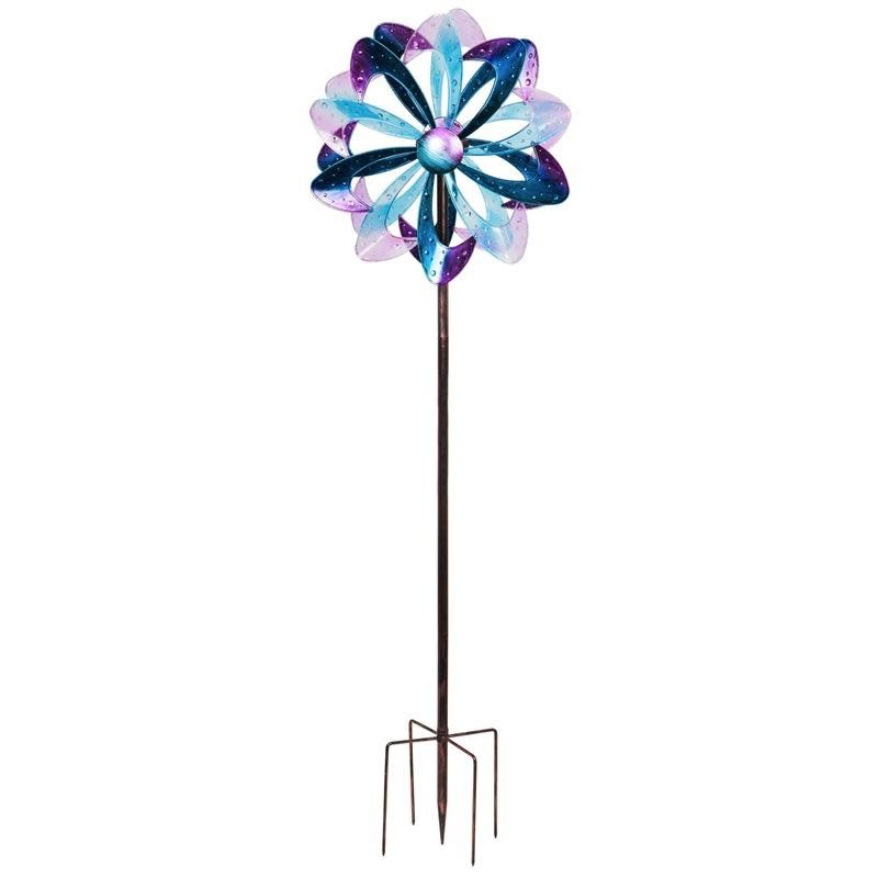 """Wind Spinner / Garden Stake Solar Cool Colors Resin & Metal 86""""h"""