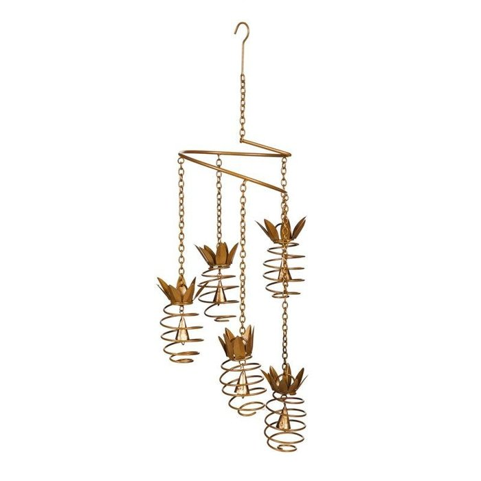 Hanging Mobile Spiral Pineapple w/Bell Metal