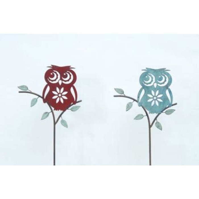 Garden Stake Owl on a Branch 12x43 Asst Metal