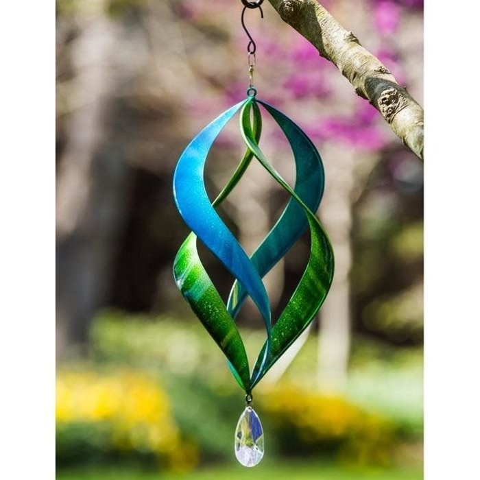 Hanging Wind Spinner Kinetic Blue/Green 20""