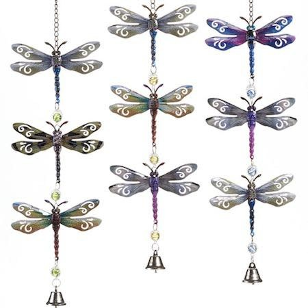 """Wind Chime / Garden Bell / Mobile Dragonfly 23""""H Asst Metal/Acrylic"""