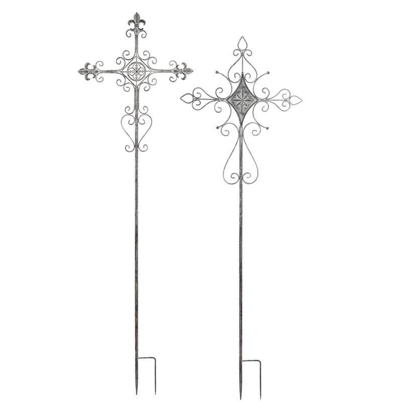 "Garden Stake Distressed Cross Metal White Asst 65""H"