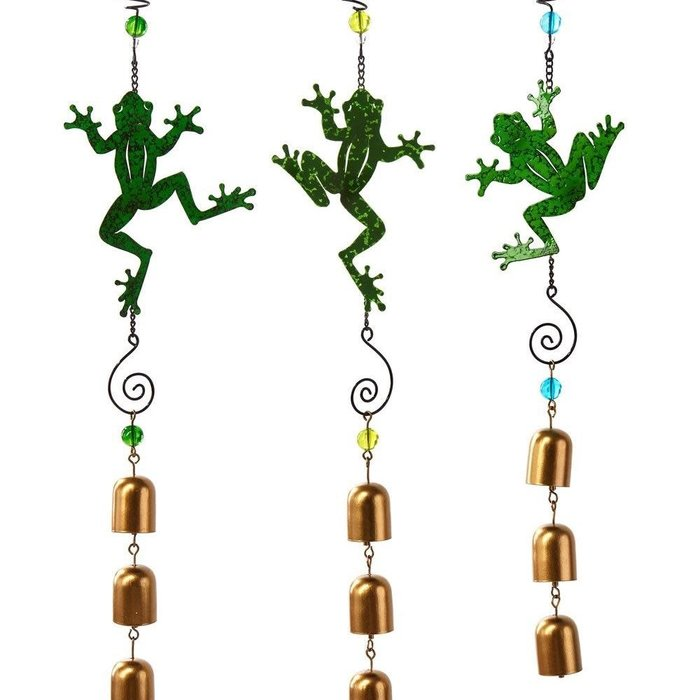Wind Chime / Garden Bell / Mobile Frog 19H Asst Metal