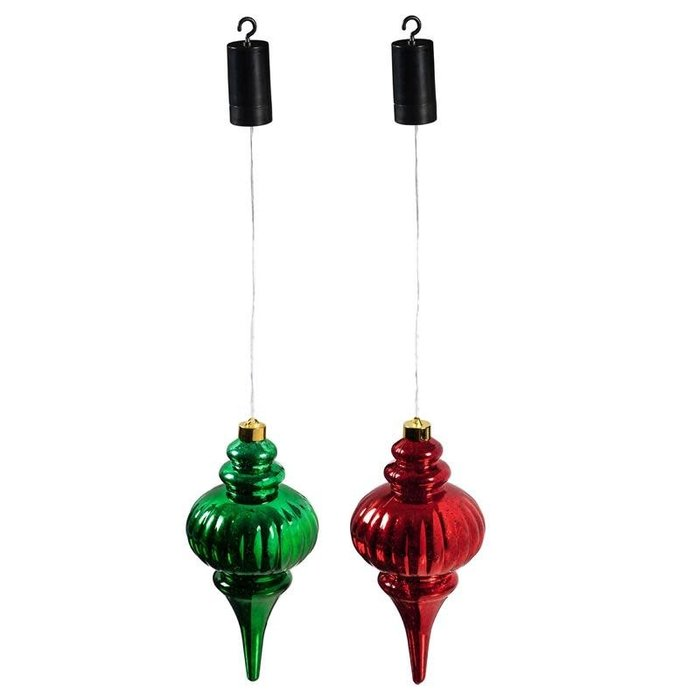 "11"" LED Finial Hanging Ornament Red/Green"