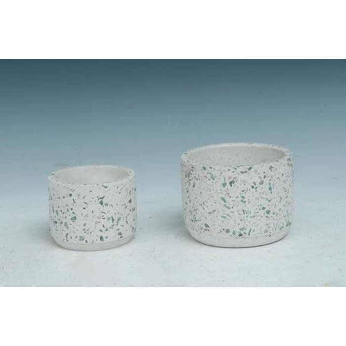 Pot White Speckled/Mosaic w/Rounded Bottom Sml 4x3 Cement