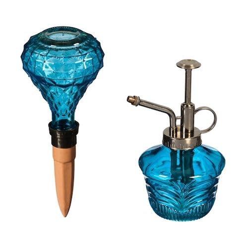 Gift Set Glass Watering Mister & Globe Blue