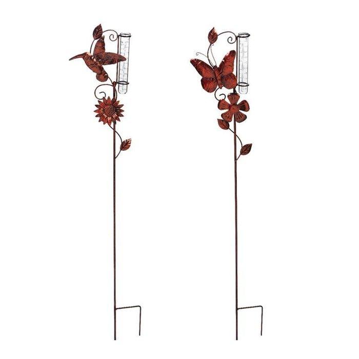 "Rain Gauge Stake Hummingbird & Butterfly 34""h Bronze"