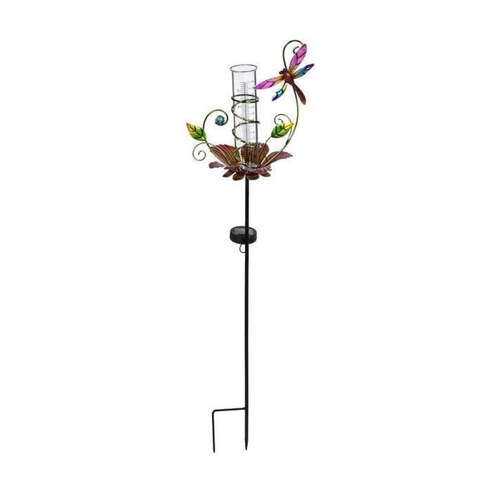 "Rain Gauge Stake Floral Bird/Btrfly/Drgfly Solar Asst 34"""