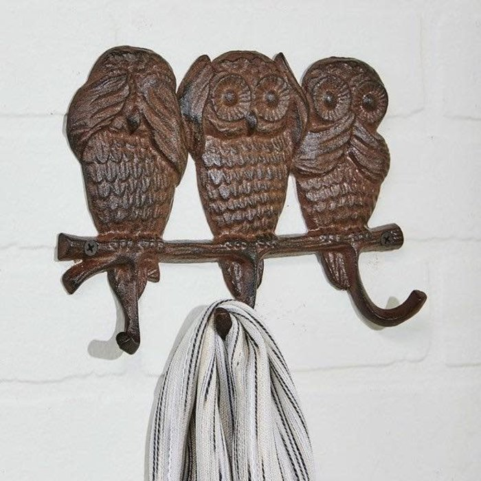 Wall Hook 3-Owl Design See Hear & Speak No Evil Cast Iron 8x5