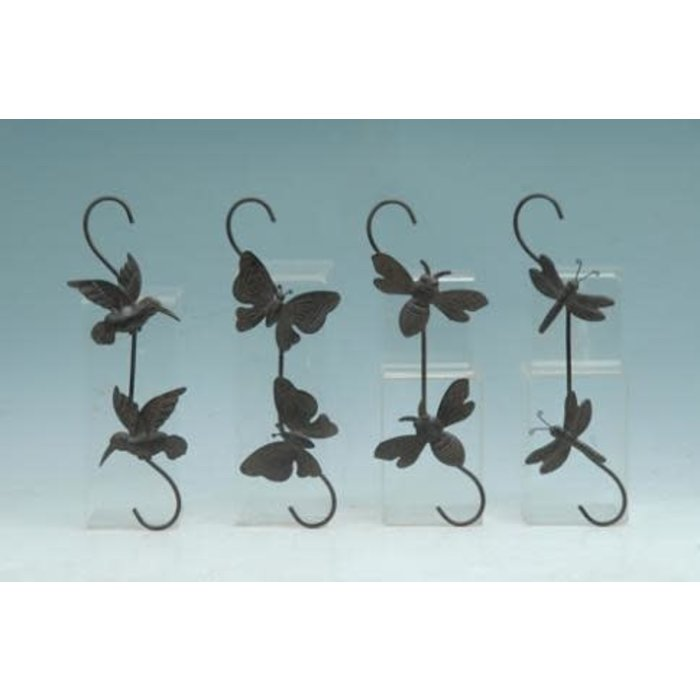 "Plant S-Hook Bird/Btrfly/Bee/Drgfly 15""h Metal Asst"