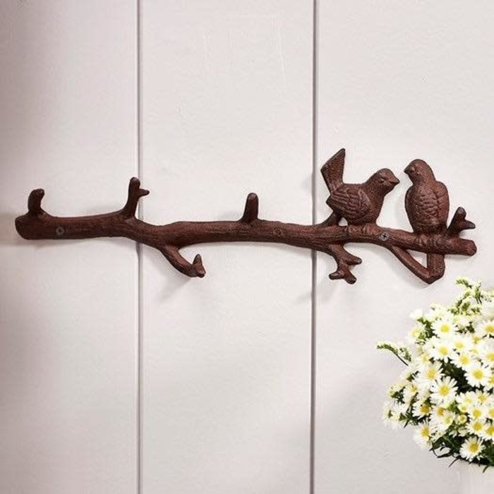 Wall Hook Birds on Branch Cast Iron18x1x4