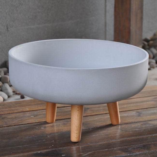 Pot Smooth Bowl w/Legs Lrg 15x9 White Fiberclay