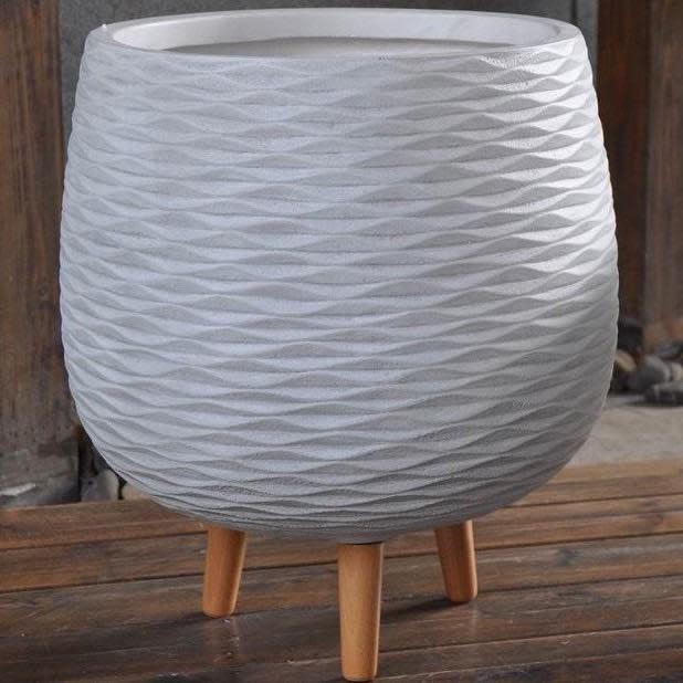 Pot Wavy w/Legs Lrg 17x19 White FiberClay