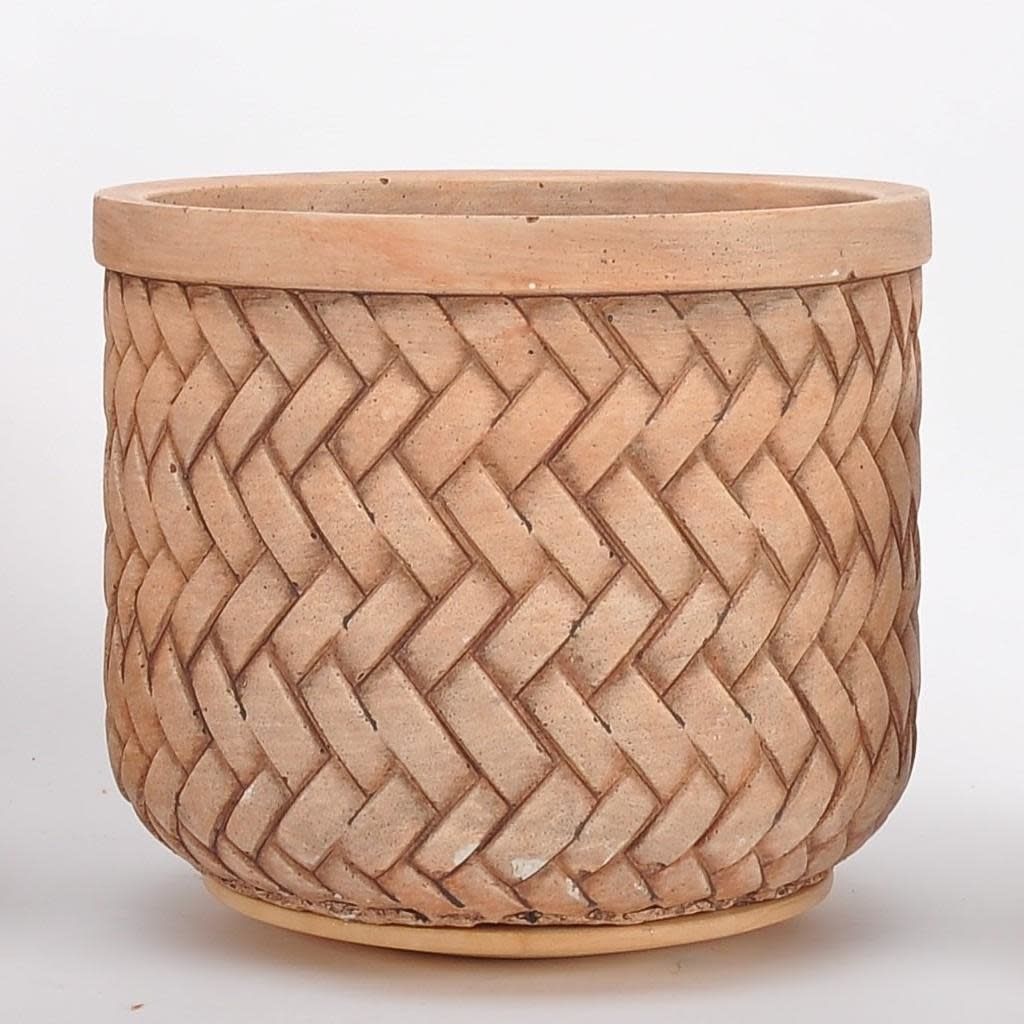 Pot Basketweave Med 8x7 Brown