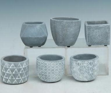 """Pot Mini Pot 4"""" Asst Styles Cement"""
