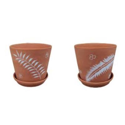 Pot Leaf Decor Planter w/Saucer 4.75x4 Terracotta Asst