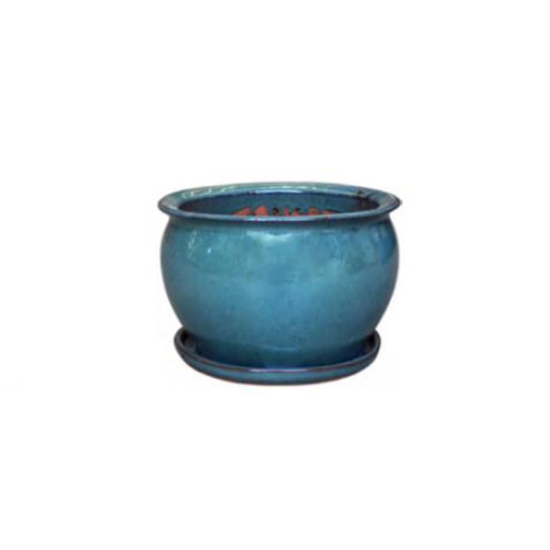 Pot Fish Bowl Planter w/att Saucer Lrg 15x10 Asst