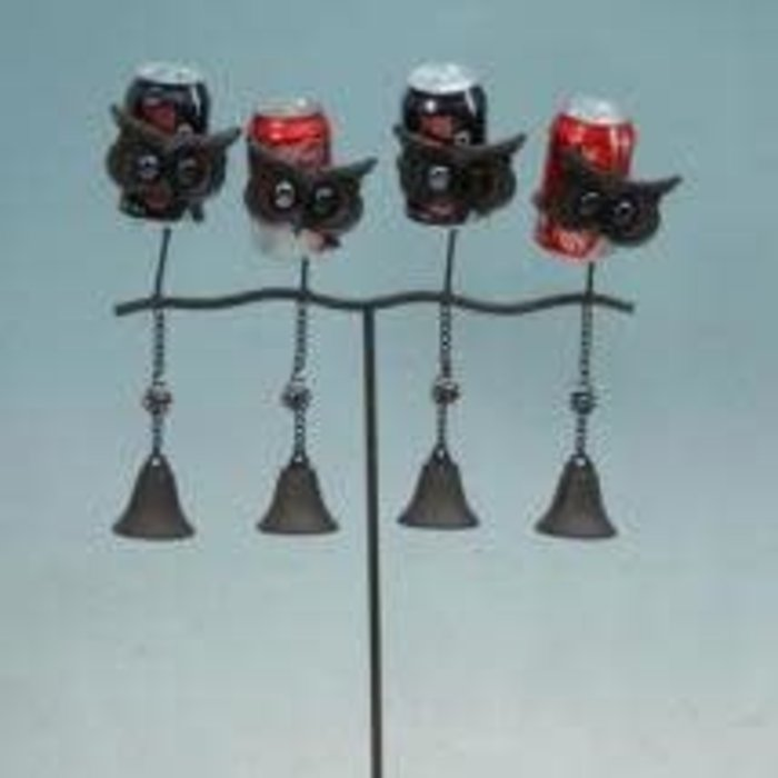 Stake w/Owl Bell Chime holds 4 Cans or Glass Bottles 17x4x36 Metal