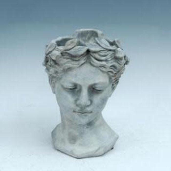 Pot/Statuary Lady Head w/Leaf Crown 5x9 Cement