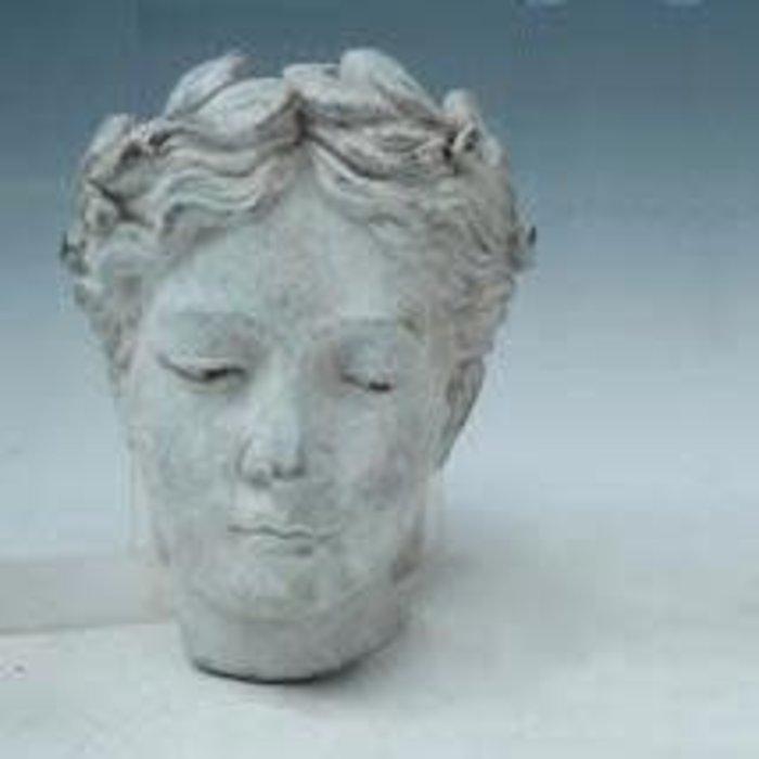 Pot / Wall Planter Lady Head w/Leaf Crown 7x5x8 Cement