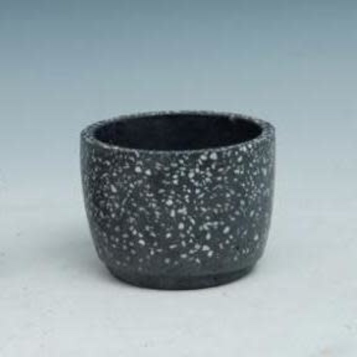 Pot Black Speckled Sml 4x3 B/W Cement