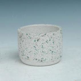Pot Cylinder White Mosaic Sml 4x3 Cement