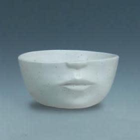 Pot Half Face Planter Lrg 7x3 White Speckled