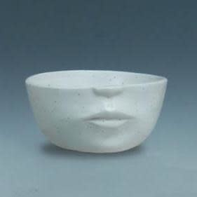 Pot Half Face Planter Sml 5x2 White Speckled
