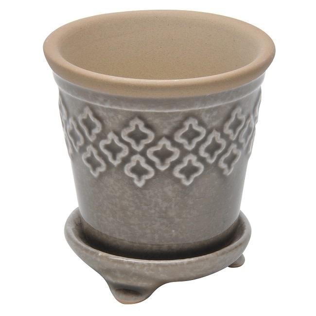 Pot Quatrefoil w/att Footed Saucer 5x6 Crackle Black