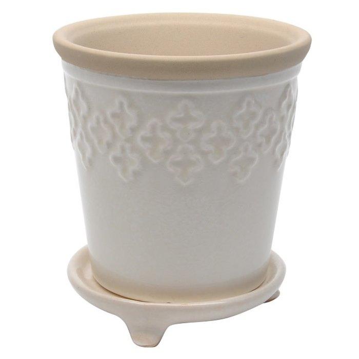 Pot Quatrefoil w/att Footed Saucer 5x6 Crackle White