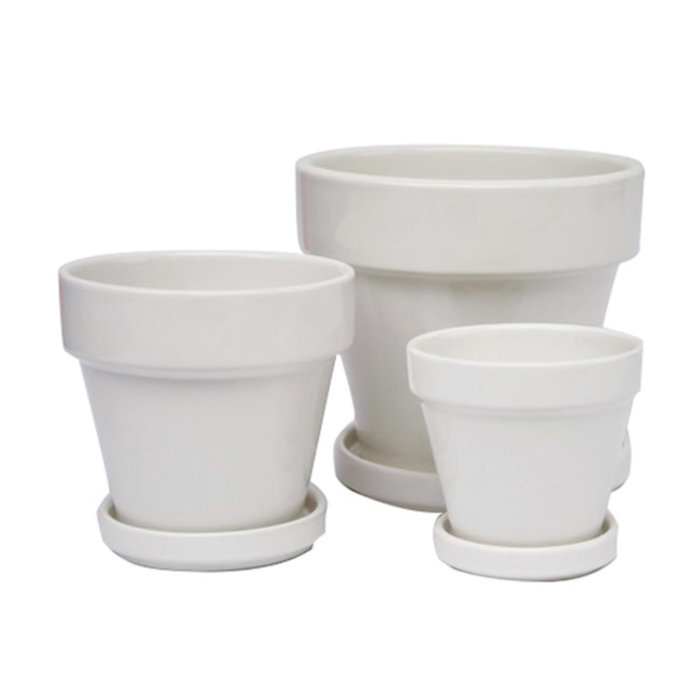 Pot Glazed Standard w/att Saucer 4.5x4 White