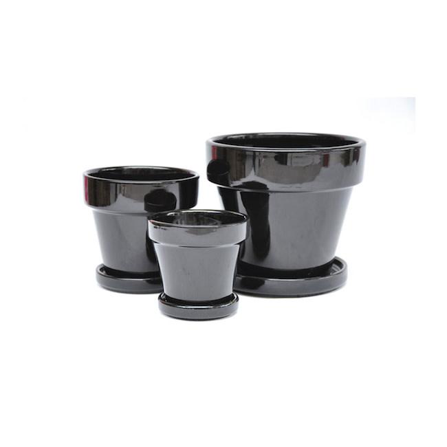 Pot Glazed Standard w/att Saucer 5.5x5.5 Black