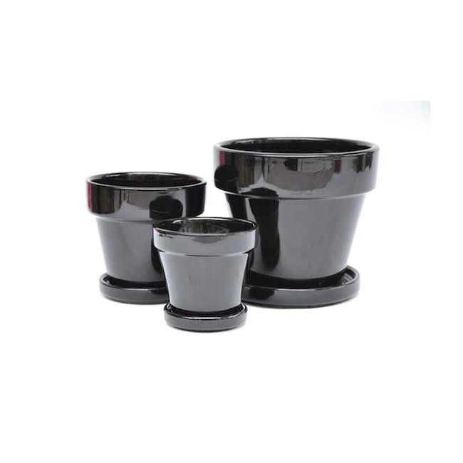 Pot Glazed Standard w/att Saucer 7.5x7 Black