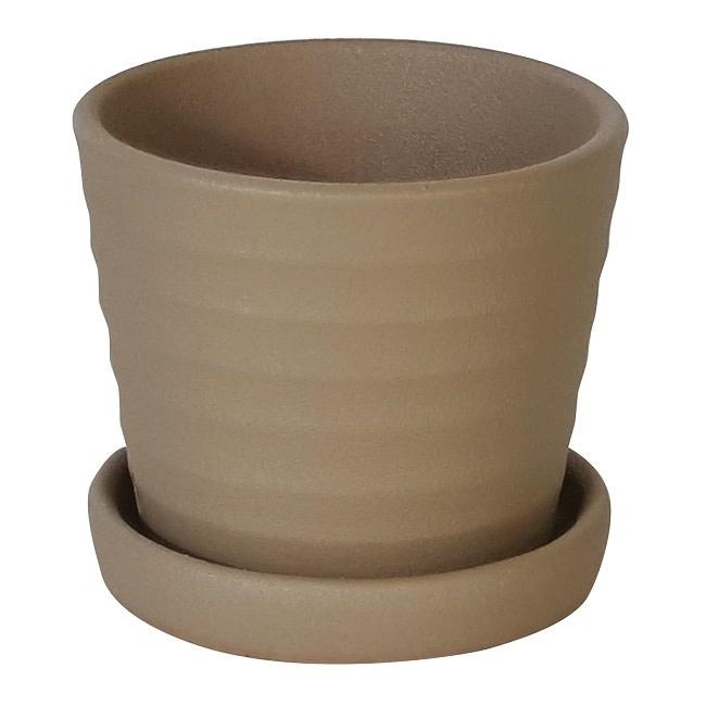 Pot Ribbed w/Att Saucer 3x2.5 Asst